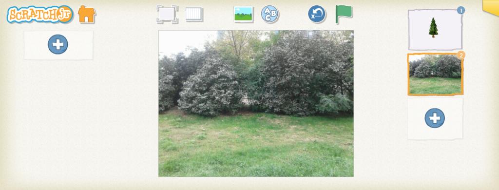 Full screen photo as a ScratchJr background.