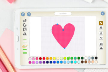 Drawing heart in ScratchJr paint editor