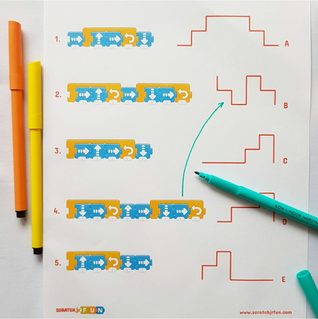 Scratch junior scripts with loops - a matching game worksheet.